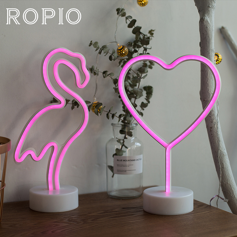 ROPIO LED Neon Abajur Night Light Table Night Lamp Flamingo Angel Heart Battery Operated for Home Wedding Christmas Decoration ropio 3d night light box led table lamp marquee giraffe battery operated for children s room wedding party birthday decoration
