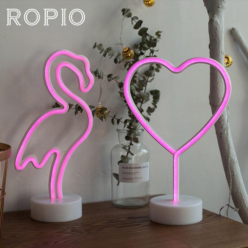 ROPIO LED Neon Abajur Nacht Licht Tisch Nacht Lampe Flamingo Engel Herz Batterie Betrieben für Home Hochzeit Weihnachten Dekoration