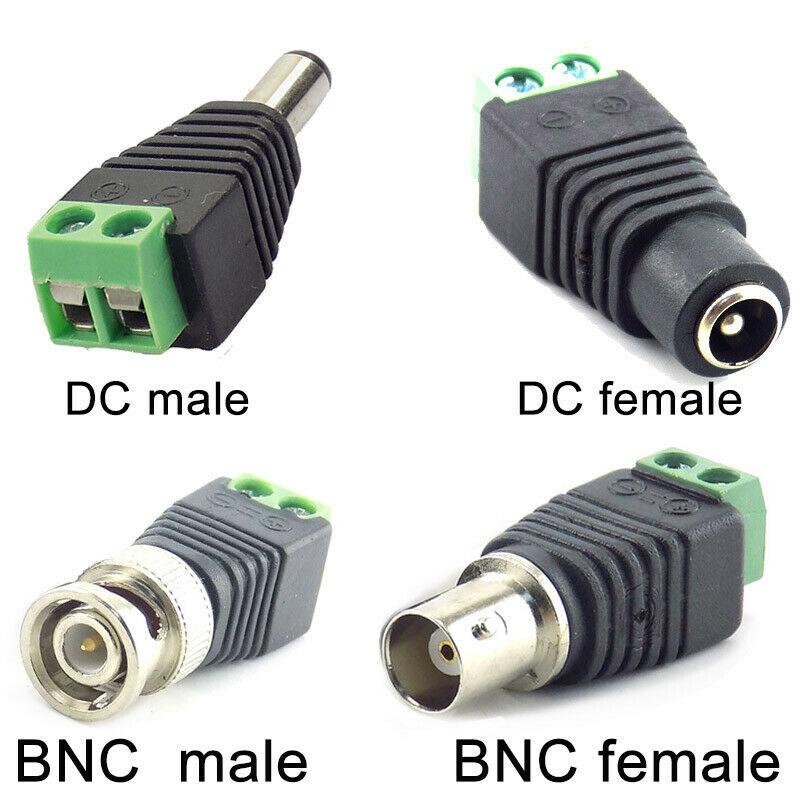 2/5/10 pces 12 v dc bnc macho fêmea conector coax cat5 vídeo balun adaptador plug para luzes de tira led cctv câmera acessórios