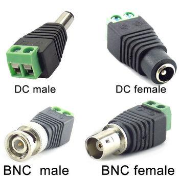 цена на 2/5/10pcs 12V DC BNC Male female Connector Coax CAT5 Video Balun Adapter Plug for Led Strip Lights CCTV Camera Accessories