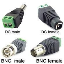 Adaptador dc bnc 2/5/10 peças 12v, conector fêmea macho coax cat5 vídeo balun adaptador para luzes de led acessórios para câmera cctv