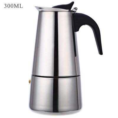 New 6 Cups 300ML Coffee Maker Pot Plastic Handle Design Household Stainless Steel Mocha Espresso Latte Percolator Coffee Tea Pot
