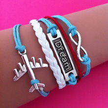 silver plated plane DREAM charm white blue and red wax rope wrap link bracelet best gift for best friend