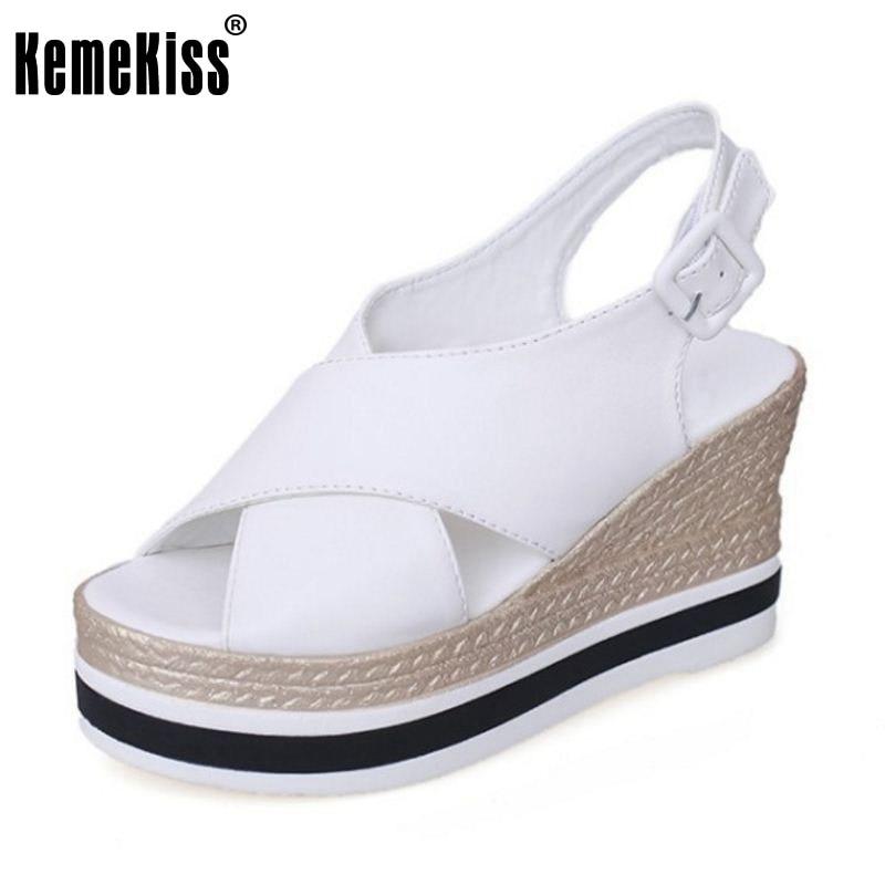 KemeKiss Women Platform Shoes Summer Peep Toe Women Sandals Fashion Solid Wedges Women Shoes Summer Beach Sandals Size 35-39 women creepers shoes 2015 summer breathable white gauze hollow platform shoes women fashion sandals x525 50