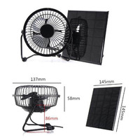 High Quality 3W 6V 4 Inch Cooling Ventilation Fan USB Solar Powered Panel Iron Fan For