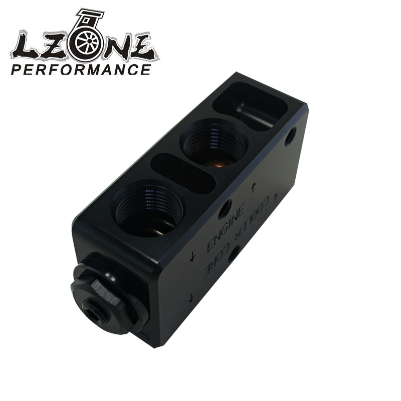 ФОТО LZONE RACING- Oil Filter Sandwich Adaptor  High quality Oil filter remote block with thermostat 1xAN8 4xAN10 ORB FEMALE JR6748