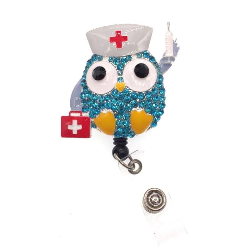 50/100 pcs/lot fantaisie strass seringue soins infirmiers mignon hibou animal rétractable ID Badge titulaire bobine pour infirmière