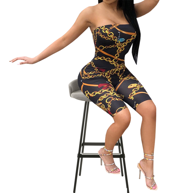 New High Quality Women's Summer Jumpsuit Rompers 2018 Fashion Europe And Black Print Tube Top Casual Tights Jumpsuit
