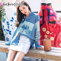 TWOTWINSTYLE Printed Pattern Striped Shirt Blouse Women Long Sleeve Casual Tops Female Fashion Clothes Big Size