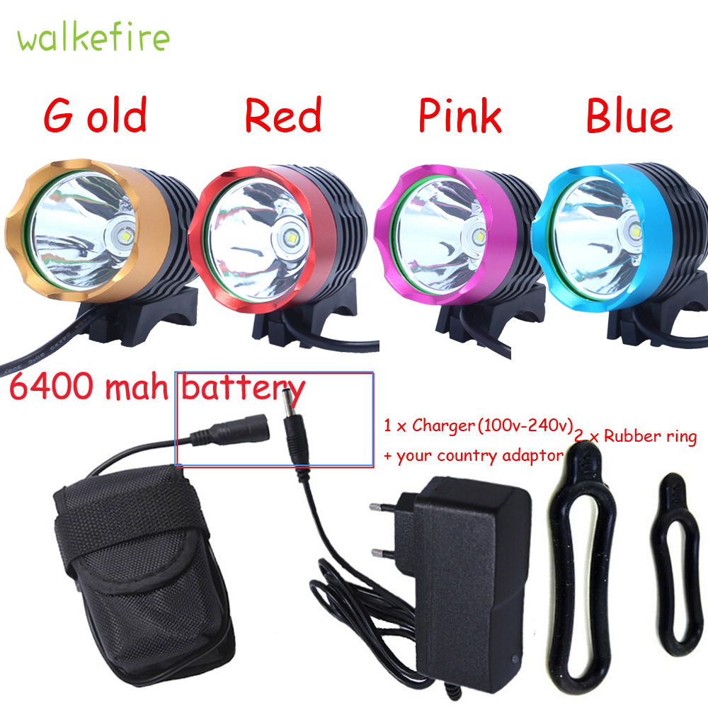 Walkfire 2200 Lumen XML T6 LED Bicycle Light Headlamp Bike HeadLight Lamp Flashlight With 6400mAh or 10000mAh Battery & Charger 6000 lumen 3 xml l2 led bicycle bike light headlamp headlight lampe frontal 5 modes rechargable 6400mah battery pack for cycling