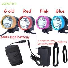 Walkfire 2200 Lumen XML T6 LED Bicycle Light Headlamp Bike HeadLight Lamp Flashlight With 6400mAh or 10000mAh Battery & Charger