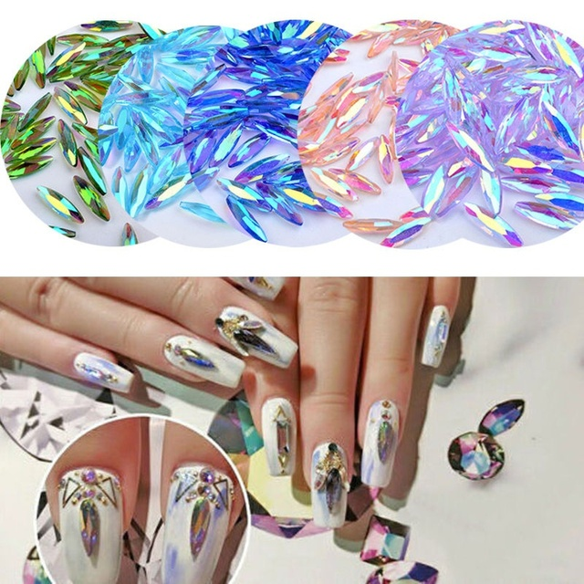 20pcs Fashion Nail Art Long Water Drop Fancy Shaped Diamond Flat Rhinestones Diy Makeup Decoration