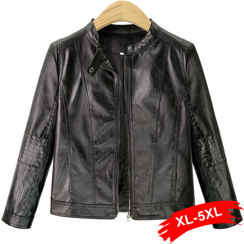 Plus Size Stand Collar PU Leather Jacket Coat 3Xl 4Xl Classic Zipper Suede Basic Jacket Casual Outwear Faux Leather Coat