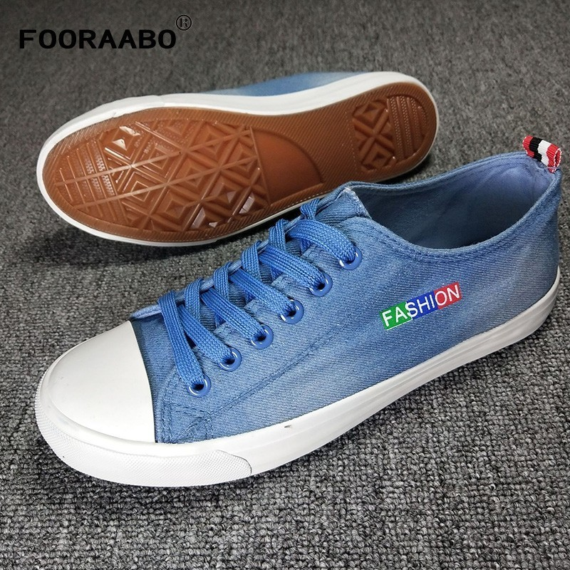 Fooraabo Fashion Mens Casual Shoes Spring Denim Canvas Shoes Breathable Men Shoes Casual Zapatos Hombre Male Summer Shoes