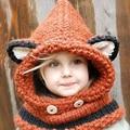 Children Kids Cartoon Animal Fox Cat Ear Knitted Hats Caps Keep Warm Autumn Winter headwears Beanies skullies Neck Scarfs S3272