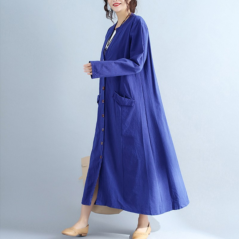 NEW Oversized Women Spring V Neck Long Sleeve Buttons Down Loose Vintage Long Maxi Blouse Dress