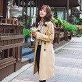 2016 Mulheres Primavera Outono Fino Casaco Estilo Casual Cor Sólida Manga Comprida Turn-Down Collar