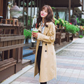 2016 Women Spring Autumn Slim Casual Solid Color Style Trench Coat Long Sleeve Turn-Down Collar