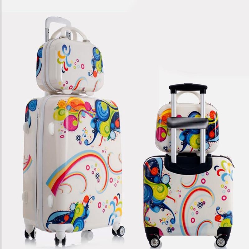 Valigia Trolley Rotolamento Bagagli Set Bello Adulto Bambino Bambini Valigia Bagaglio a mano Borsa Da Viaggio Scatola di Imbarco Koffers Carrelli