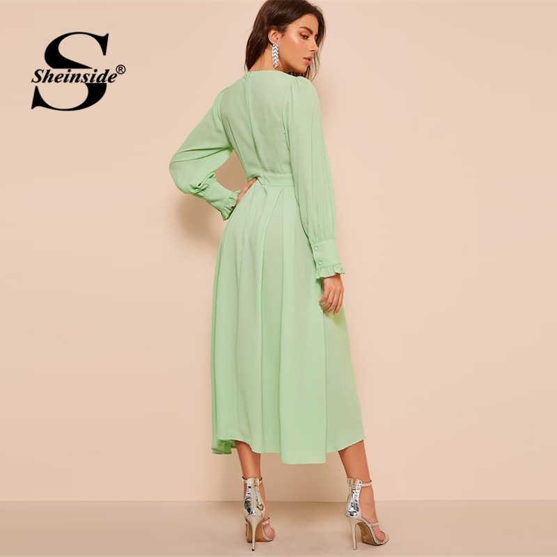 Sheinside, элегантное, плиссированное, с деталями, платье, для женщин, весна 2019, с оборками, на манжетах, на молнии, платья для девушек, с высокой талией, ТРАПЕЦИЕВИДНОЕ ПЛАТЬЕ