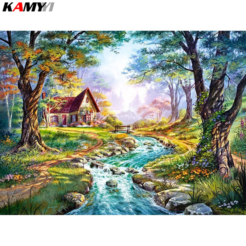 Diamond Embroidery Landscape Full Square/Round Drill Resin Garden Decoration Diamond Painting Cross Stitch Fairy Cottage XY1