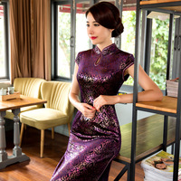 Velvet Dress Women Winter 2017 Flora Print Chinese Traditional Dress Sleevess Cheongsam Qipao Long Chinese Oriental