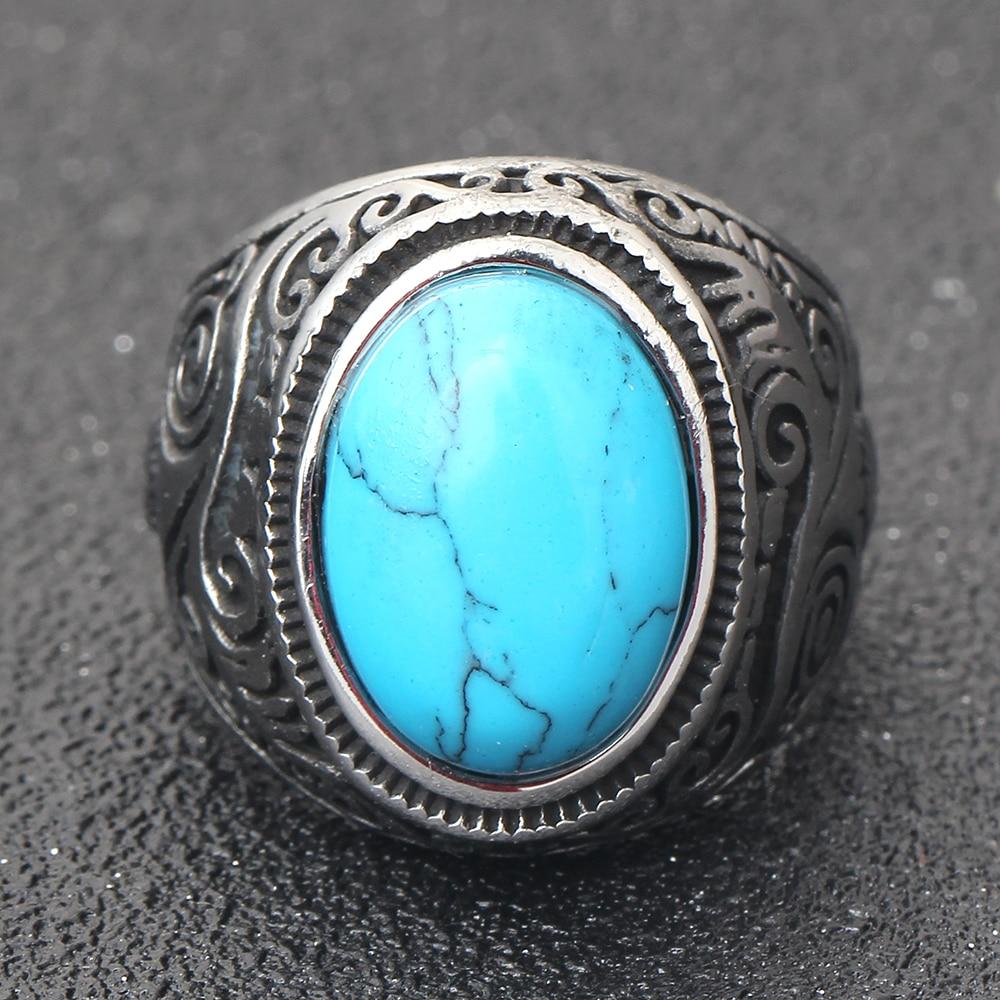 Wholesale Retro jewelry titanium steel inlaid black onyx ring men domineering  ring 5