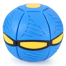 Flat Deformation Ball Flying Saucer Shape Glowing Toy Outdoor Bouncing With Light Rebound