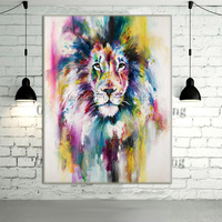 New Hand Painted Modern Color Lion Animals Oil Painting Picture On Canvas Wall Art Animals Painting