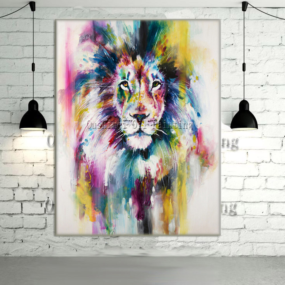 nouveau peint la main moderne couleur lion animaux peinture l 39 huile photo sur toile mur art. Black Bedroom Furniture Sets. Home Design Ideas