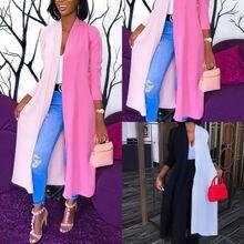 Длинный Тренч женский осенний Универсальный лоскутный длинный рукав тонкий длинный кардиган пальто