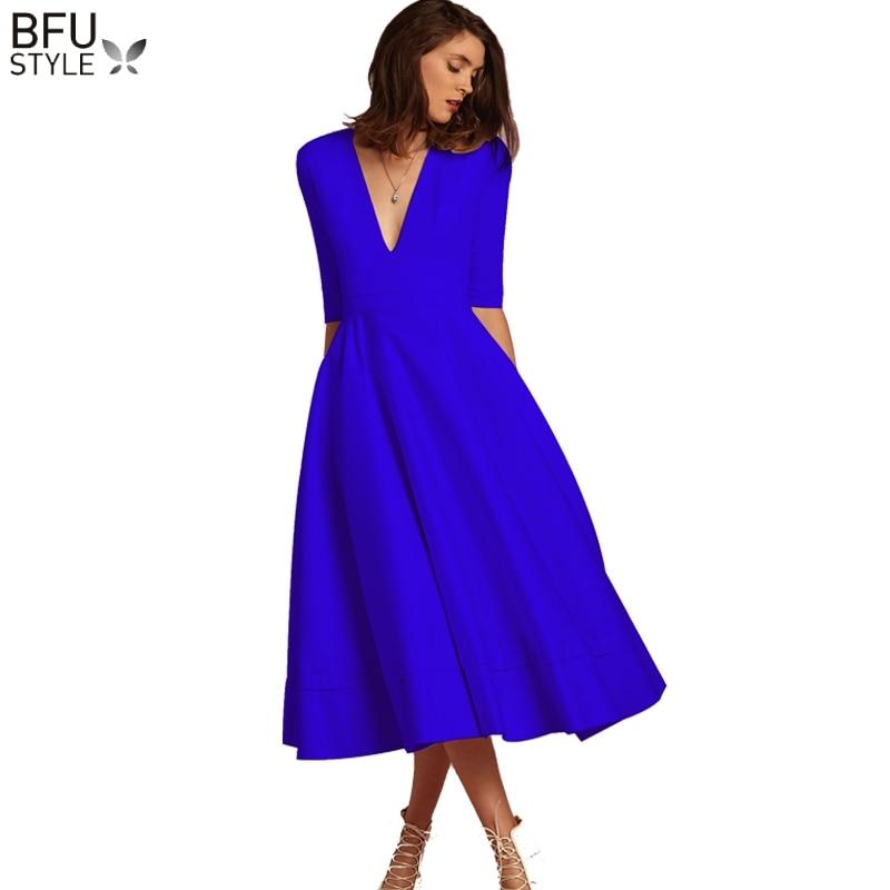 Синее винтажное платье до колена с v-образным вырезом 2019 летнее модное элегантное платье трапециевидной формы с коротким рукавом Vestidos Вечер...
