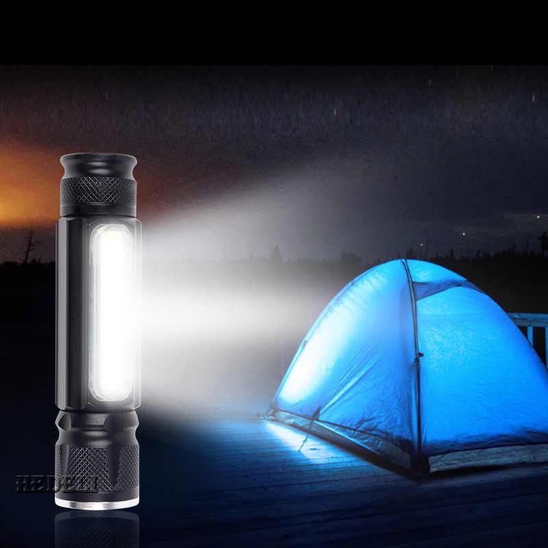 COB ナイト読書 usb 懐中電灯 18650 内蔵バッテリー CREE XML T6 led トーチフラッシュライト防水キャンプ充電ハンドランプ