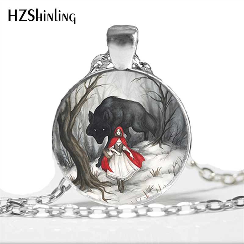 NS-00789 Fashion Little Red Riding Hood and Wolf Pendant Necklace Fairytale Art Photo Handmade Vintage Necklace Women Jewelry semi formal summer dresses