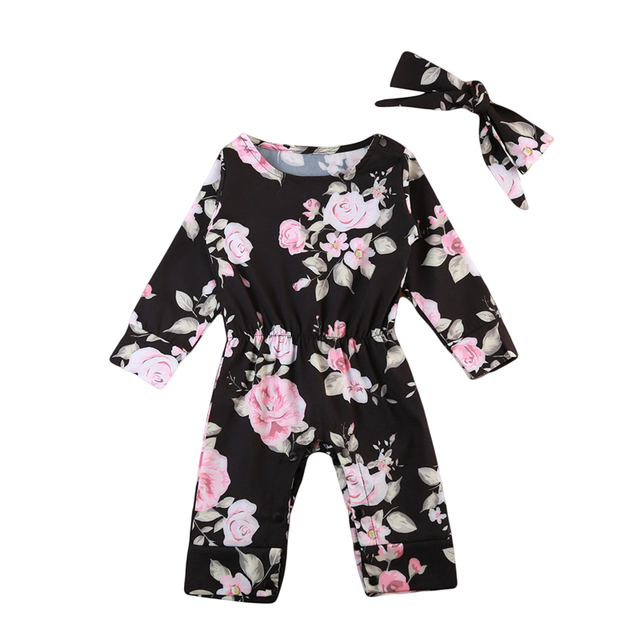 6ce2e8f814d6 pudcoco Infant Baby Girl Rompers Floral Cotton bebe girls flower ...