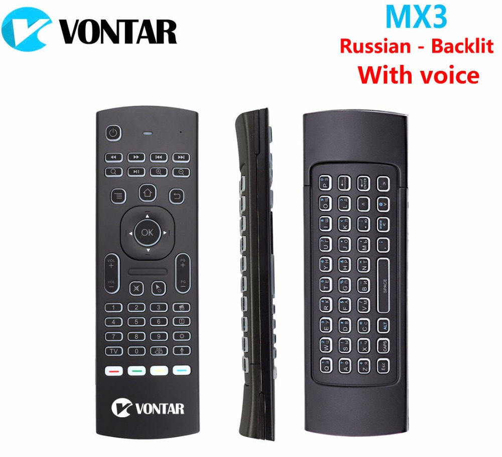лучшая цена Russian English Backlight MX3 PRO Air Mouse With Voice MX3 Wireless Keyboard Remote Control 2.4G IR Learning For Android TV Box