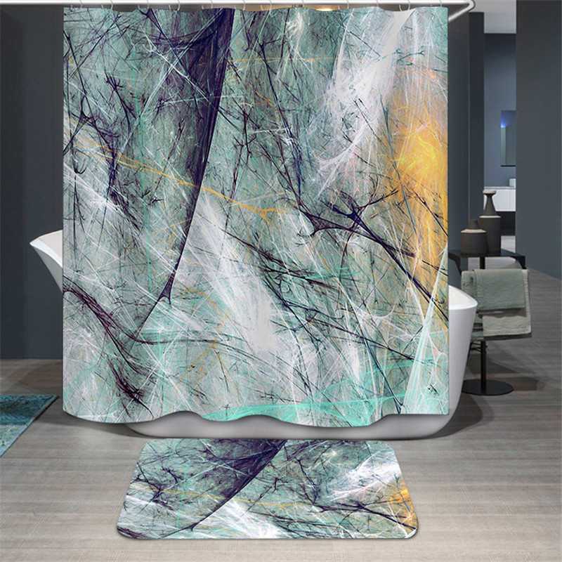 Colorful Waterproof Shower Curtain Mildewproof Polyester Fabric Bath Bathing Bathroom Curtains with 12 Hooks for Home Decoration
