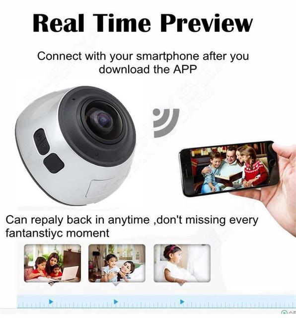 Free shipping!WiFi 360 degree Driving Action Large Lens Cam DV HD 3D VR Panoramic Camera Multi Mode