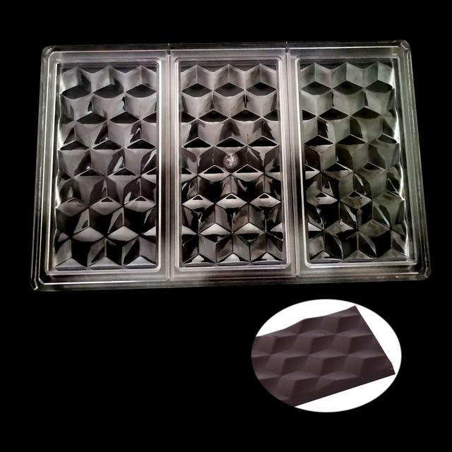 Molde 3D de policarbonato para barras de Chocolate, molde para dulces de grado alimenticio, herramienta de repostería