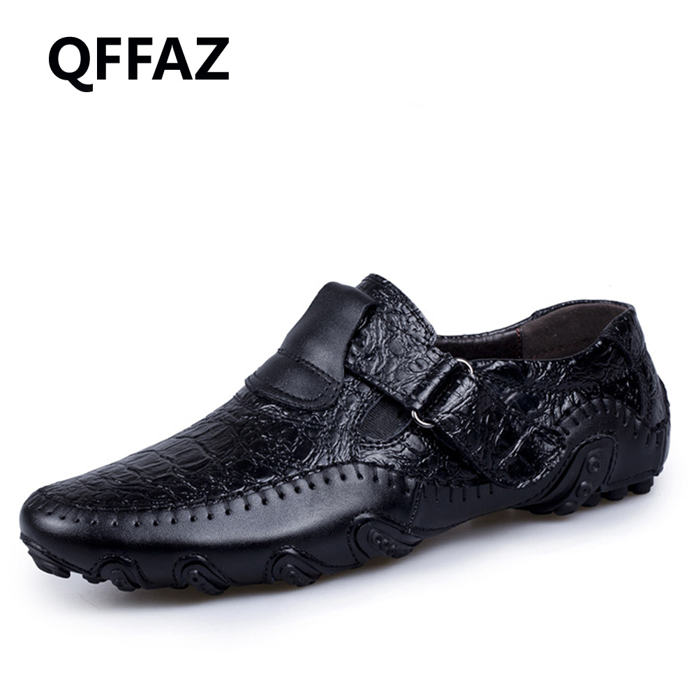 QFFAZ New Handmade Genuine Leather Men Shoes Casual Luxury Brand Men Loafers Fashion Breathable Shoes Slip On Moccasins farvarwo genuine leather alligator crocodile shoes luxury men brand new fashion driving shoes men s casual flats slip on loafers