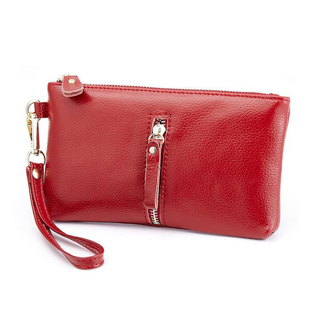 fa6119e8169d Real Soft Leather Women Clutch Bags Lady s Hand Bag Women s Pouch Purse Red  Organizer Evening Party Handbags Classic Girl Gift