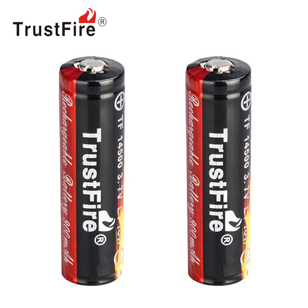 2pcs! TrustFire 3.7V Li-ion 14500 Rechargeable Battery 900mAh Real Capacity Lithium Battery for LED Flash Light Bike Headlamp