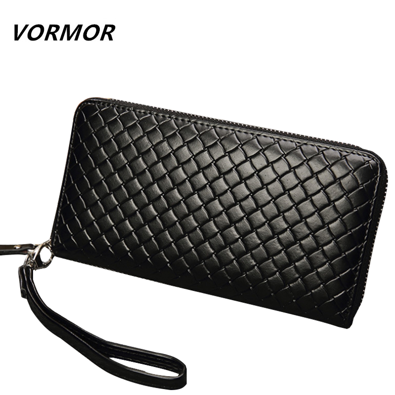 VORMOR Vintage Leather Zipper Long Wallet Coin Pocket Purse Card Holder Men Wallets Money Cartera Hombre Bag Male Clutch