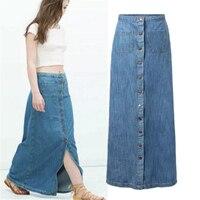 2017 New Fashion Vintage Women Bohemian Style Button Down Denim Long Maxi Skirt Blue S M