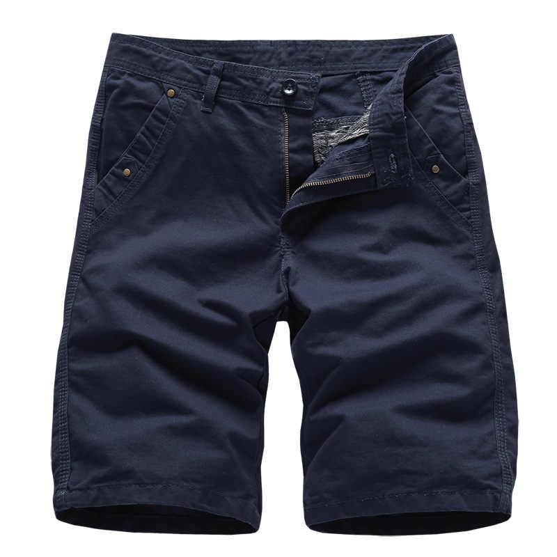 Brand New męskie szorty cargo 2019 wysokiej jakości czarne wojskowe krótkie spodnie męskie bawełniane jednokolorowa na co dzień szorty plażowe męskie letnie dno