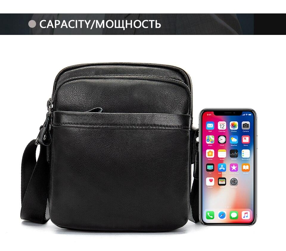 Men's Shoulder Bag for Men Crossbody Bags Genuine Leather Flap Small Male Bussiness Handbags with Zipper Messenger Bag 19