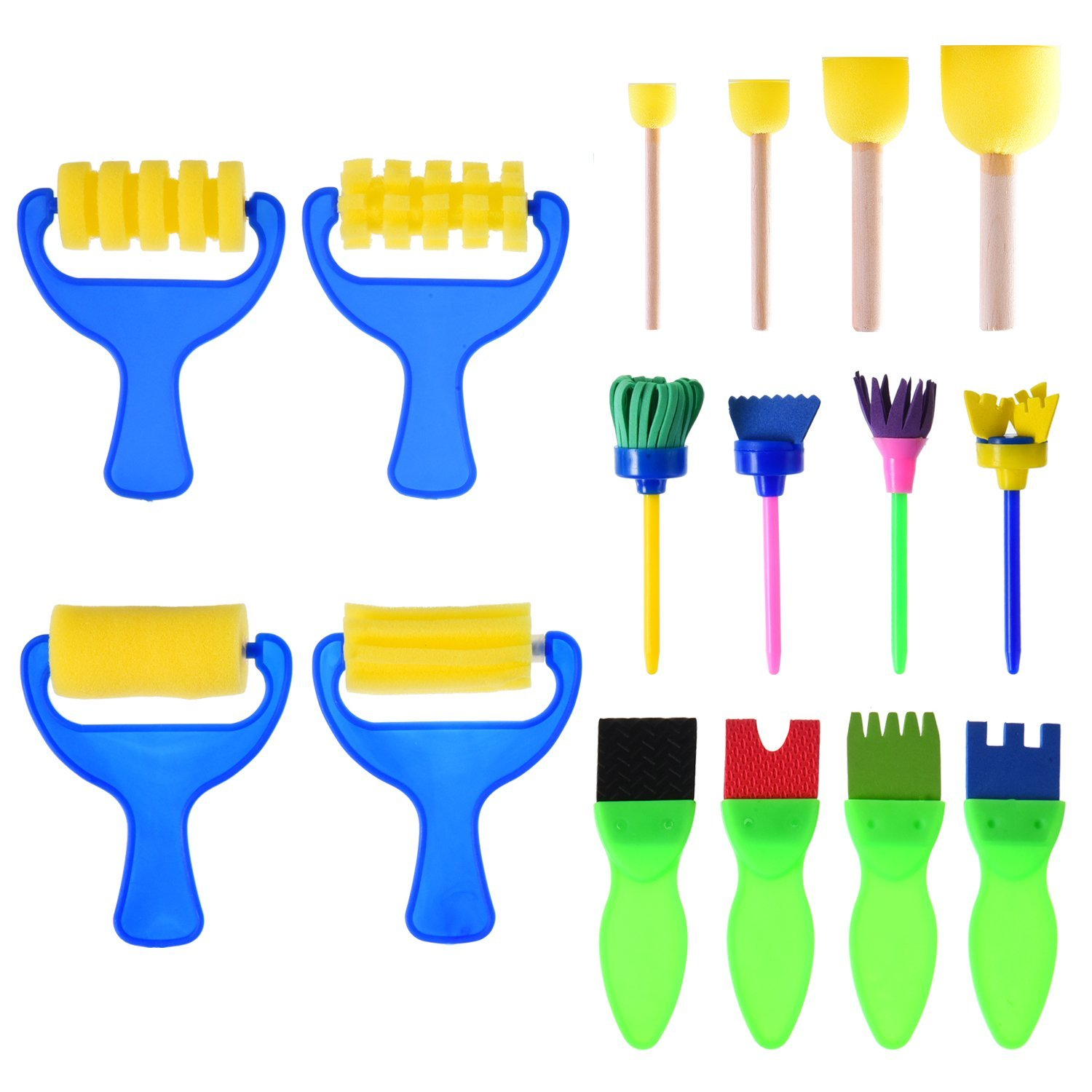 16 Pieces Sponge Painting Brushes Kids Painting Kits Early Learning Foam Brushes for DIY Art Crafts 5 10pcs sand painting handmade colored cartoon drawing toys sand art kids coloring diy crafts learning sand art painting cards
