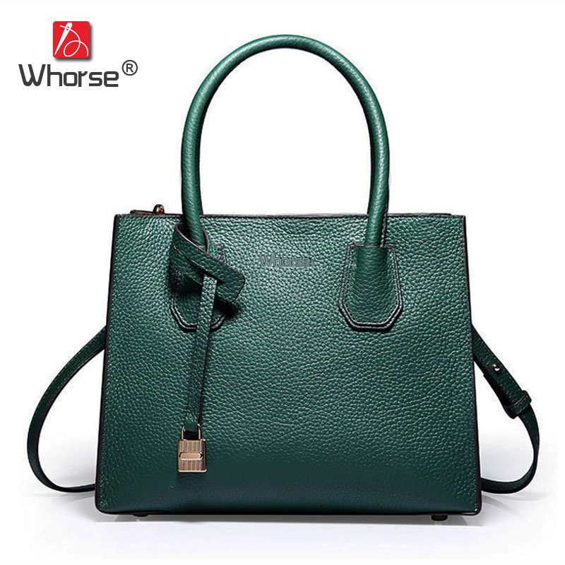 [WHORSE] Brand Real Genuine Leather Bag Women's Bucket Designer Handbags High Quality Shoulder Messenger Bags [whorse] brand luxury fashion designer genuine leather bucket bag women real cowhide handbag messenger bags casual tote w07190