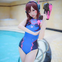 High Quality Anime Game Overwatch Cos Woman Lolita Swimsuit D.Va Costume OW Cosplay Girls student Japanese swimsuit Costumes