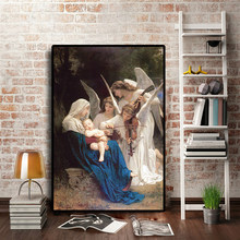 Song of the Angel William Adolphe Portrait Famous Oil Painting on Canvas Pop Art Posters and Prints Wall Picture for Living Room(China)